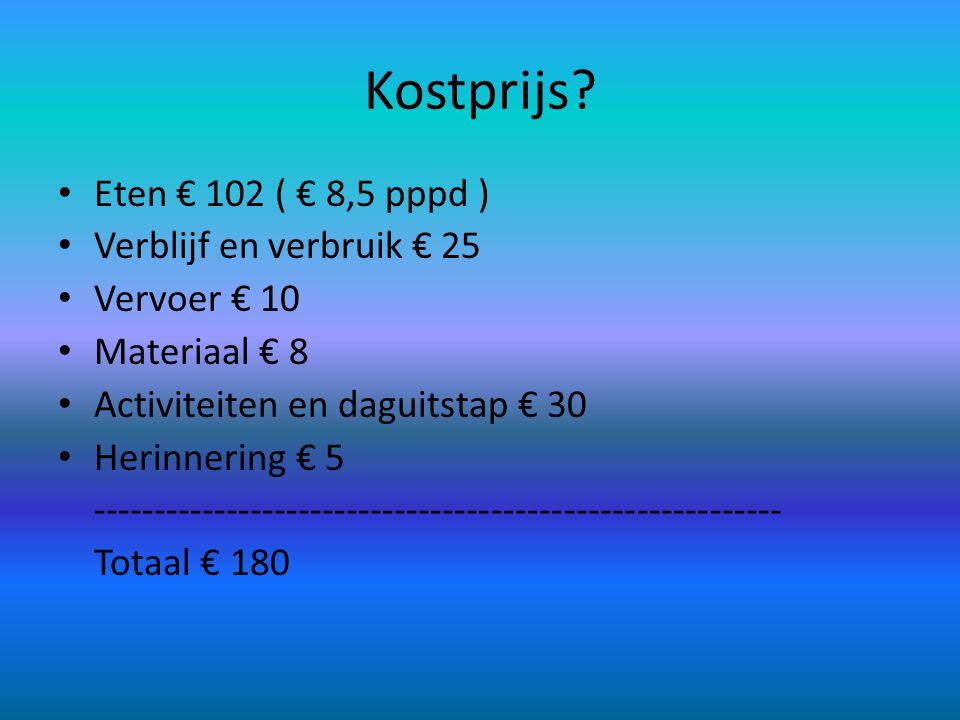 Kostprijs? • Eten € 102 ( € 8,5 pppd ) • Verblijf en verbruik € 25 • Vervoer € 10 • Materiaal € 8 • Activiteiten en daguitstap € 30 • Herinnering € 5