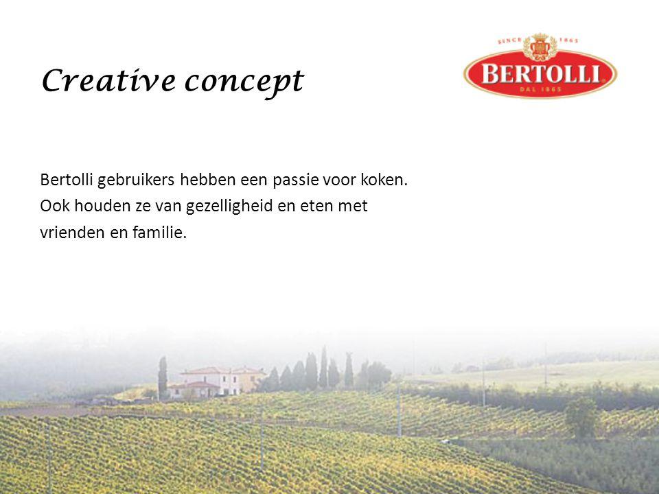 Creative concept Bertolli gebruikers hebben een passie voor koken.