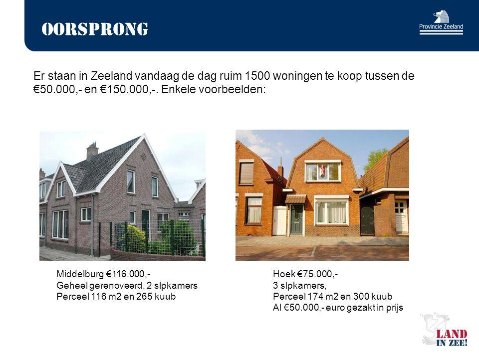 Oorsprong Er staan in Zeeland vandaag de dag ruim 1500 woningen te koop tussen de €50.000,- en €150.000,-. Enkele voorbeelden: Middelburg €116.000,- H