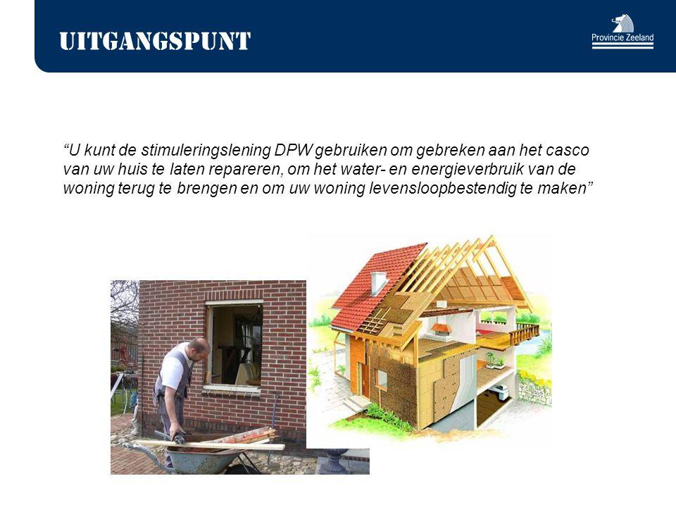 Uitgangspunt U kunt de stimuleringslening DPW gebruiken om gebreken aan het casco van uw huis te laten repareren, om het water- en energieverbruik van de woning terug te brengen en om uw woning levensloopbestendig te maken
