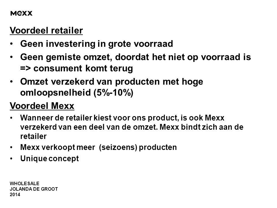 WHOLESALE JOLANDA DE GROOT 2014 Voordeel retailer •Geen investering in grote voorraad •Geen gemiste omzet, doordat het niet op voorraad is => consumen