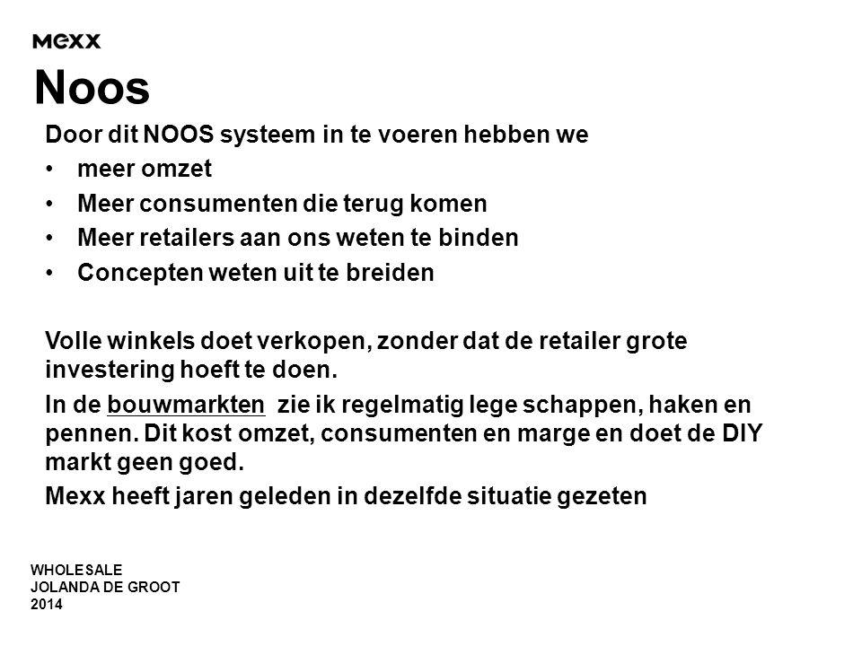 WHOLESALE JOLANDA DE GROOT 2014 Noos Door dit NOOS systeem in te voeren hebben we •meer omzet •Meer consumenten die terug komen •Meer retailers aan on
