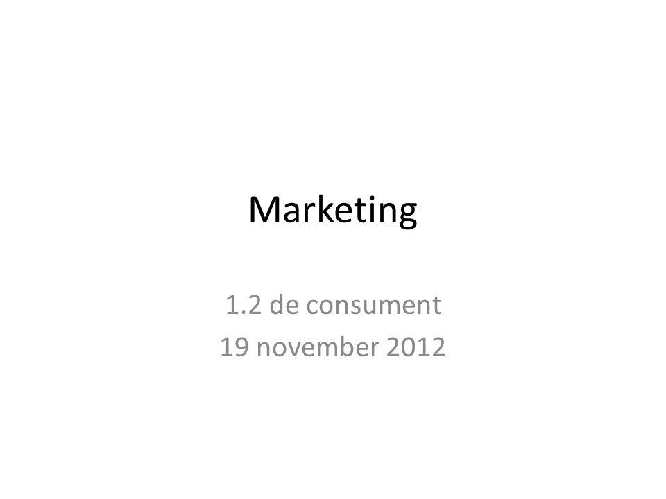 Marketing 1.2 de consument 19 november 2012