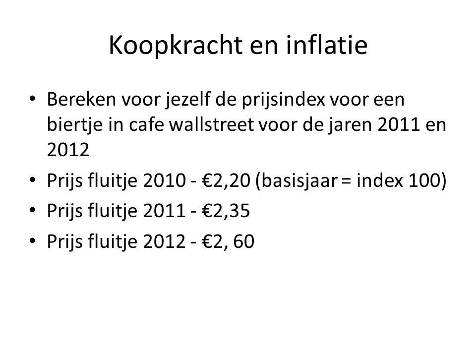 Koopkracht en inflatie • Bereken voor jezelf de prijsindex voor een biertje in cafe wallstreet voor de jaren 2011 en 2012 • Prijs fluitje 2010 - €2,20