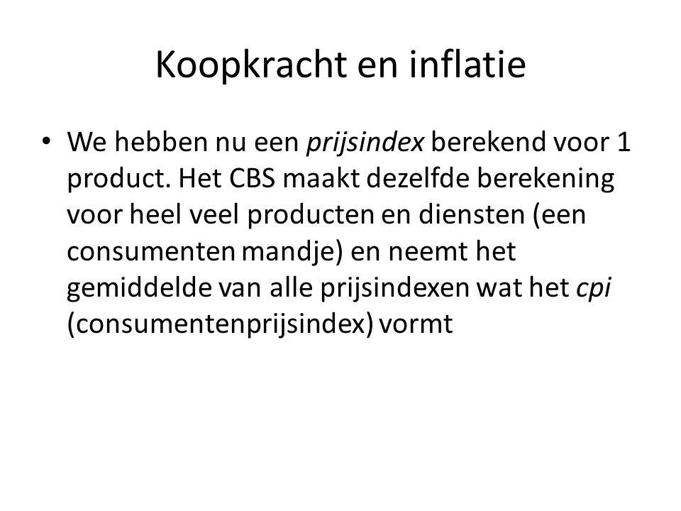 Koopkracht en inflatie • We hebben nu een prijsindex berekend voor 1 product. Het CBS maakt dezelfde berekening voor heel veel producten en diensten (