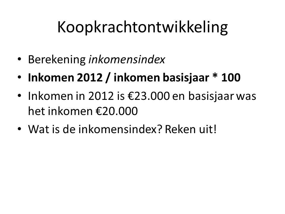 Koopkrachtontwikkeling • Berekening inkomensindex • Inkomen 2012 / inkomen basisjaar * 100 • Inkomen in 2012 is €23.000 en basisjaar was het inkomen €
