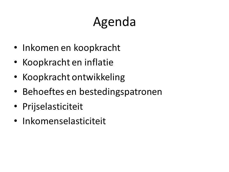 Agenda • Inkomen en koopkracht • Koopkracht en inflatie • Koopkracht ontwikkeling • Behoeftes en bestedingspatronen • Prijselasticiteit • Inkomenselas