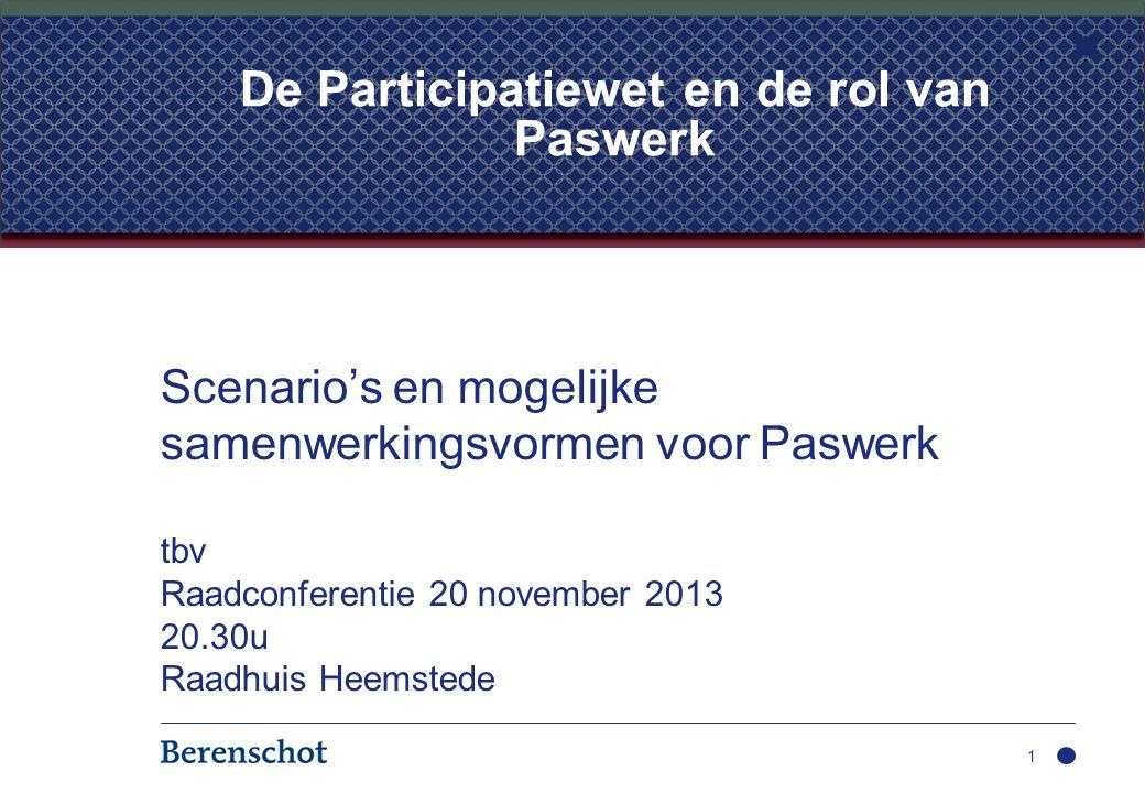 Scenario's en mogelijke samenwerkingsvormen voor Paswerk tbv Raadconferentie 20 november 2013 20.30u Raadhuis Heemstede 1 De Participatiewet en de rol van Paswerk
