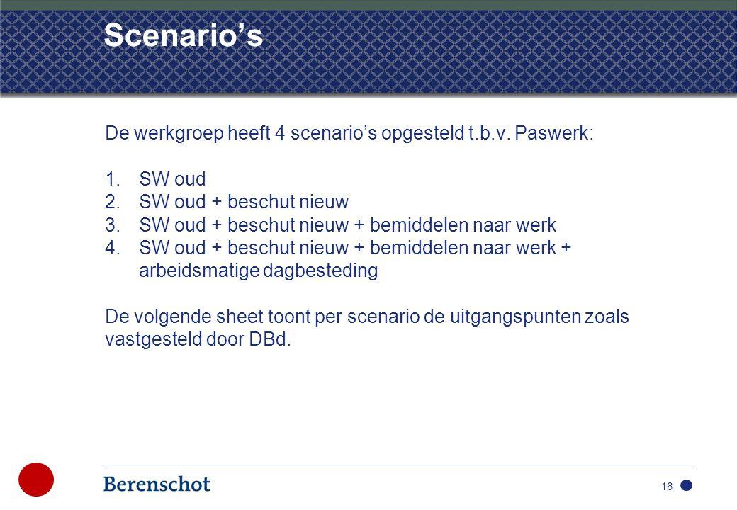 Scenario's De werkgroep heeft 4 scenario's opgesteld t.b.v.