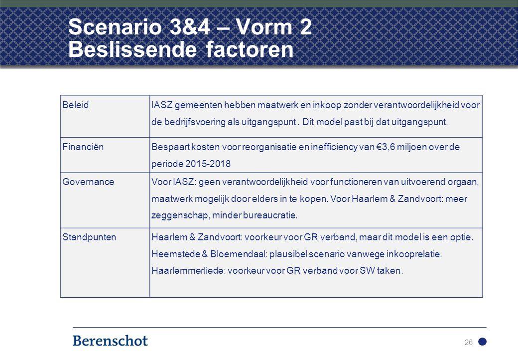 26 Scenario 3&4 – Vorm 2 Beslissende factoren Beleid IASZ gemeenten hebben maatwerk en inkoop zonder verantwoordelijkheid voor de bedrijfsvoering als uitgangspunt.