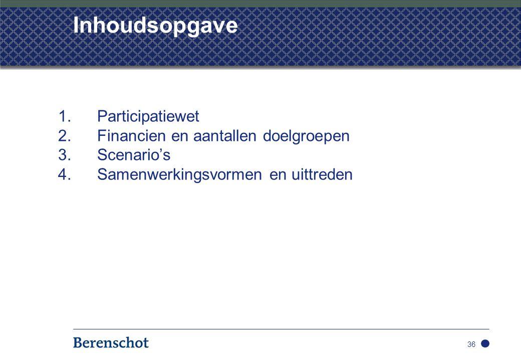 Inhoudsopgave 1.Participatiewet 2.Financien en aantallen doelgroepen 3.Scenario's 4.Samenwerkingsvormen en uittreden 36