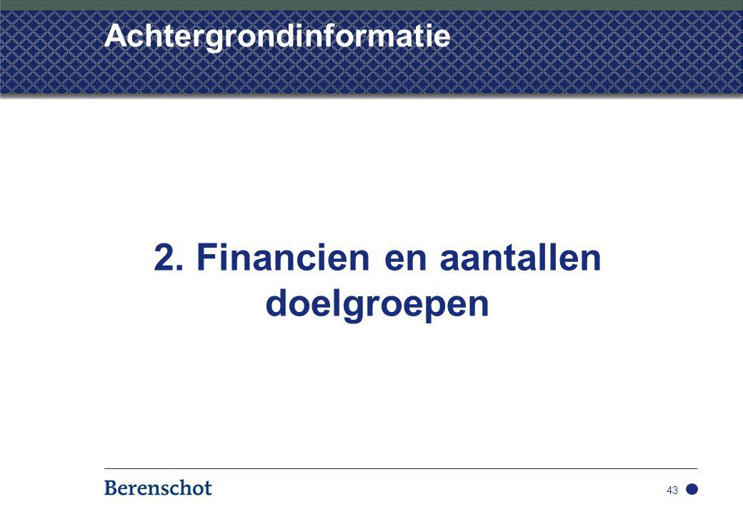 Achtergrondinformatie 2. Financien en aantallen doelgroepen 43