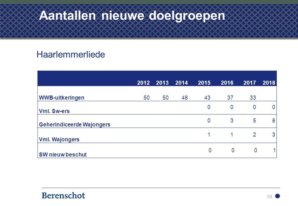 Aantallen nieuwe doelgroepen 53 Haarlemmerliede 2012201320142015201620172018 WWB-uitkeringen50 48433733 Vml.