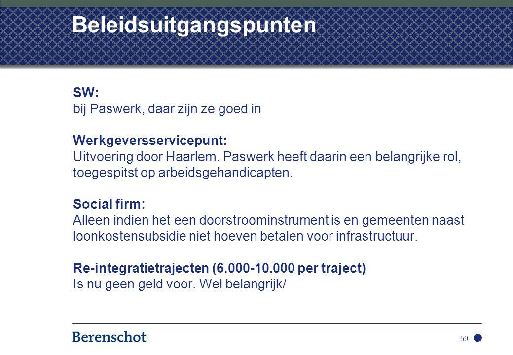 Beleidsuitgangspunten SW: bij Paswerk, daar zijn ze goed in Werkgeversservicepunt: Uitvoering door Haarlem.