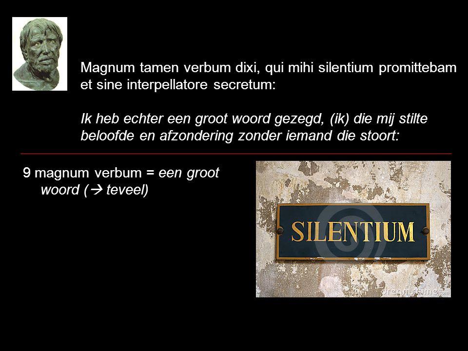 Magnum tamen verbum dixi, qui mihi silentium promittebam et sine interpellatore secretum: Ik heb echter een groot woord gezegd, (ik) die mij stilte be