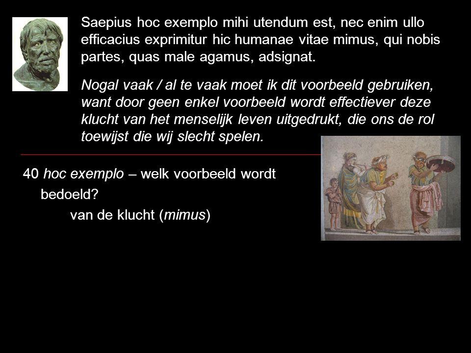 Saepius hoc exemplo mihi utendum est, nec enim ullo efficacius exprimitur hic humanae vitae mimus, qui nobis partes, quas male agamus, adsignat. Nogal