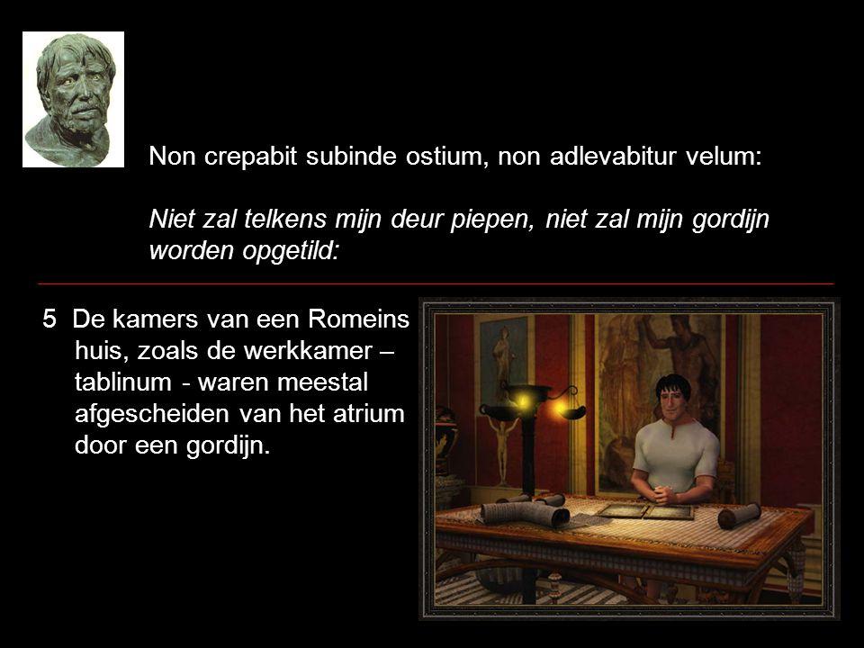 Non crepabit subinde ostium, non adlevabitur velum: Niet zal telkens mijn deur piepen, niet zal mijn gordijn worden opgetild: 5 De kamers van een Rome