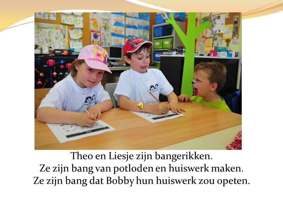 Theo en Liesje zijn bangerikken.Ze zijn bang van potloden en huiswerk maken.