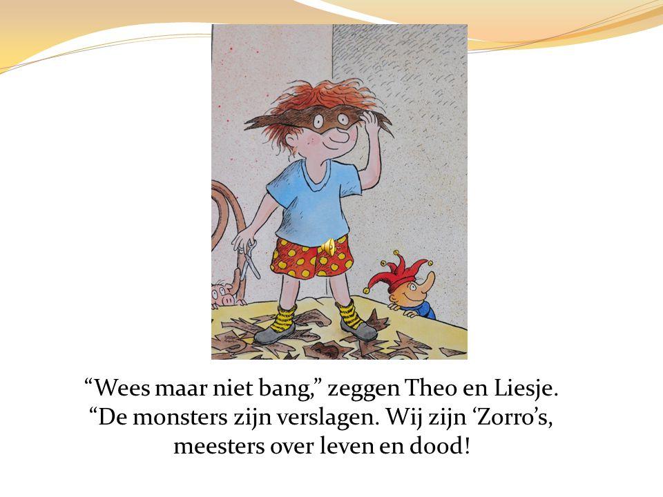… en Theo en Liesje knippen de heks en het spook in wel honderd stukjes.