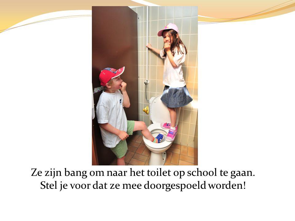 Ze zijn bang om naar het toilet op school te gaan. Stel je voor dat ze mee doorgespoeld worden!