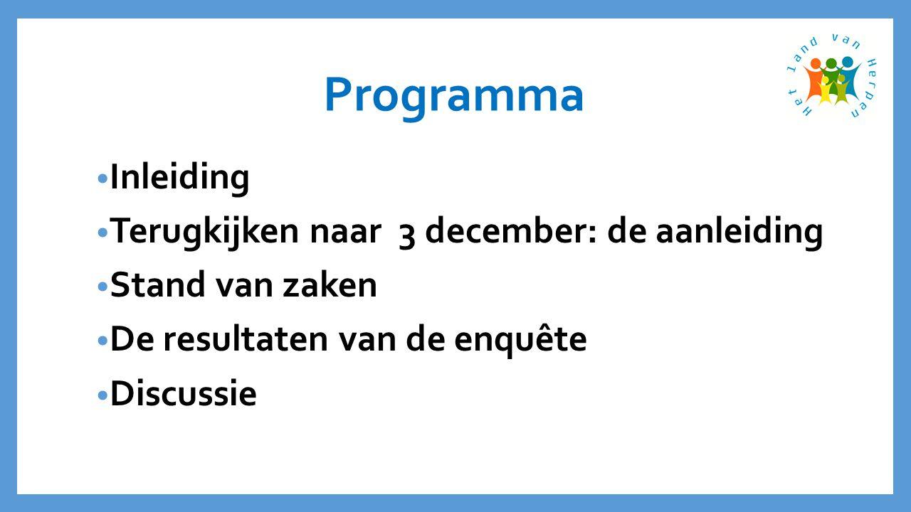 Programma • Inleiding • Terugkijken naar 3 december: de aanleiding • Stand van zaken • De resultaten van de enquête • Discussie