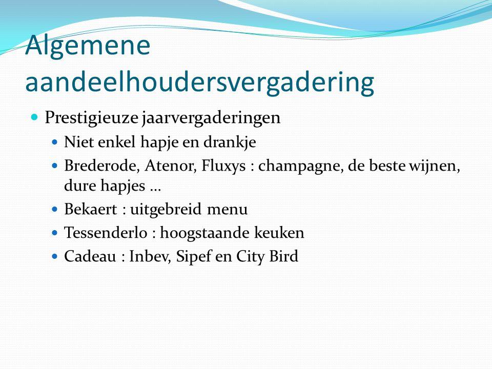 Algemene aandeelhoudersvergadering  Prestigieuze jaarvergaderingen  Niet enkel hapje en drankje  Brederode, Atenor, Fluxys : champagne, de beste wi