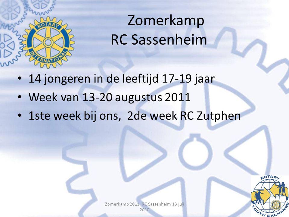 Zomerkamp RC Sassenheim • 14 jongeren in de leeftijd 17-19 jaar • Week van 13-20 augustus 2011 • 1ste week bij ons, 2de week RC Zutphen Zomerkamp 2011