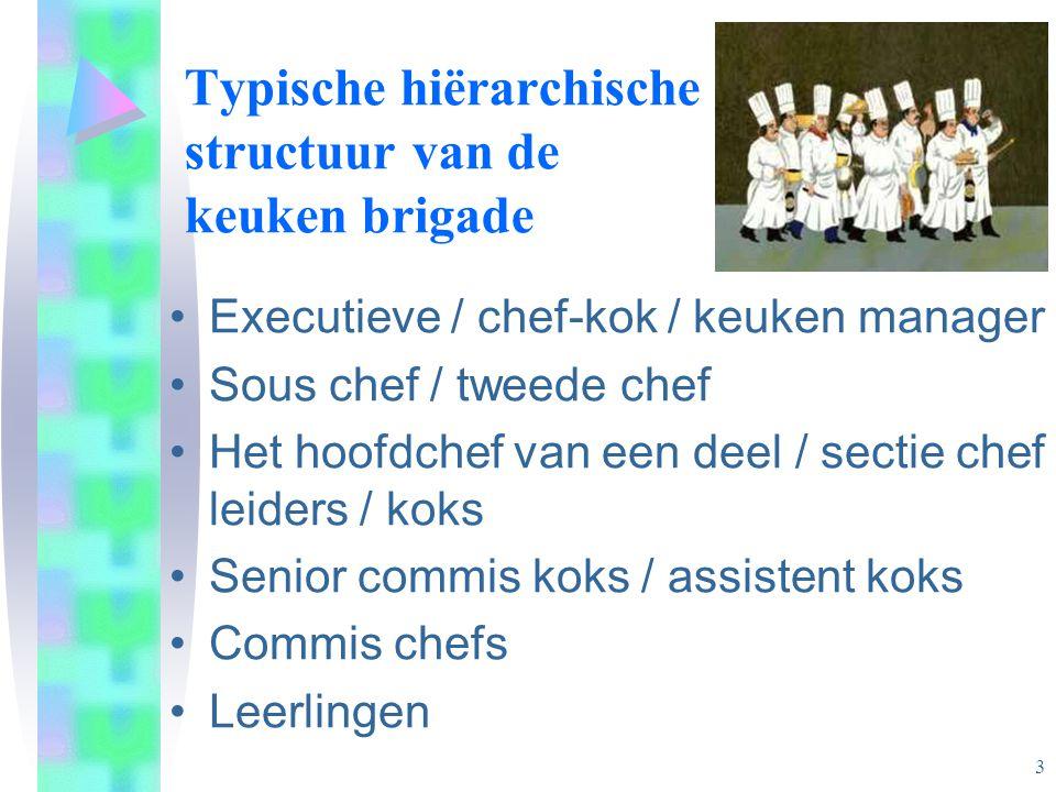 Typische hiërarchische structuur van de keuken brigade •Executieve / chef-kok / keuken manager •Sous chef / tweede chef •Het hoofdchef van een deel /