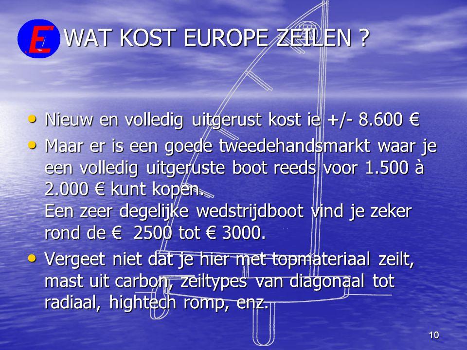 10 WAT KOST EUROPE ZEILEN ? • Nieuw en volledig uitgerust kost ie +/- 8.600 € • Maar er is een goede tweedehandsmarkt waar je een volledig uitgeruste