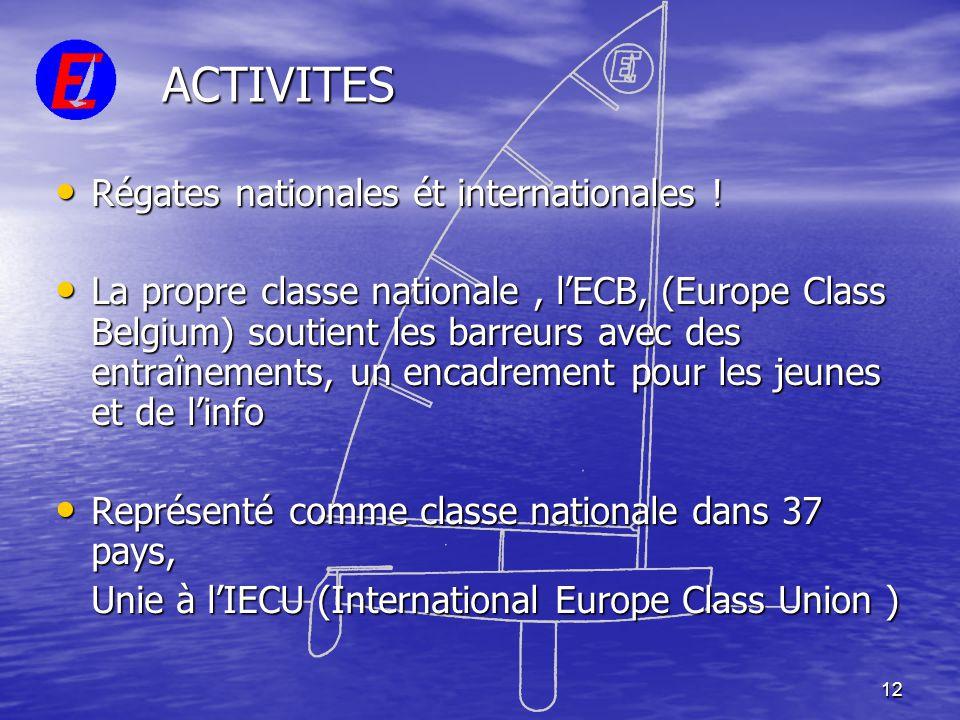 12 ACTIVITES • Régates nationales ét internationales ! • La propre classe nationale, l'ECB, (Europe Class Belgium) soutient les barreurs avec des entr