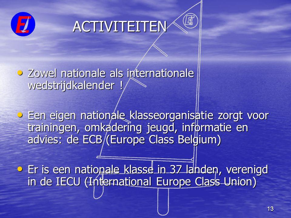 13 ACTIVITEITEN • Zowel nationale als internationale wedstrijdkalender ! • Een eigen nationale klasseorganisatie zorgt voor trainingen, omkadering jeu