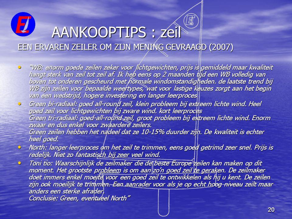 """20 AANKOOPTIPS : zeil EEN ERVAREN ZEILER OM ZIJN MENING GEVRAAGD (2007) • """"WB: enorm goede zeilen zeker voor lichtgewichten, prijs is gemiddeld maar k"""