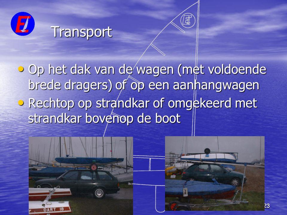 23 Transport • Op het dak van de wagen (met voldoende brede dragers) of op een aanhangwagen • Rechtop op strandkar of omgekeerd met strandkar bovenop