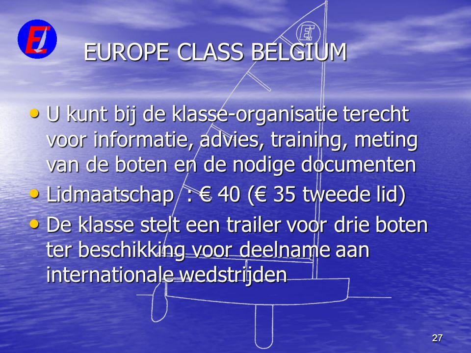 27 EUROPE CLASS BELGIUM • U kunt bij de klasse-organisatie terecht voor informatie, advies, training, meting van de boten en de nodige documenten • Li