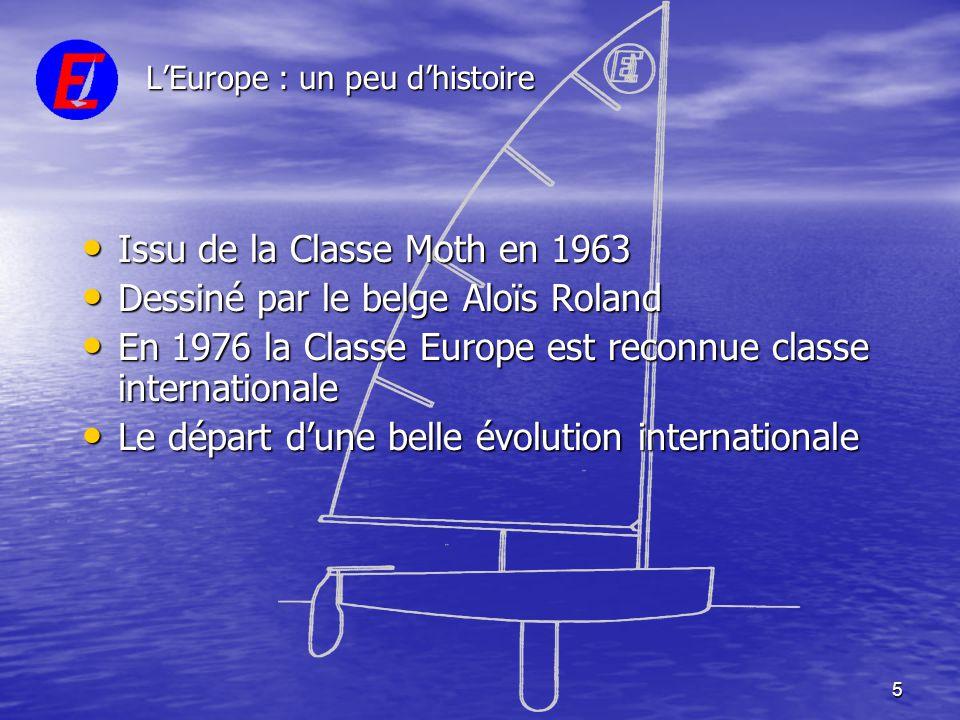 5 L'Europe : un peu d'histoire • Issu de la Classe Moth en 1963 • Dessiné par le belge Aloïs Roland • En 1976 la Classe Europe est reconnue classe int