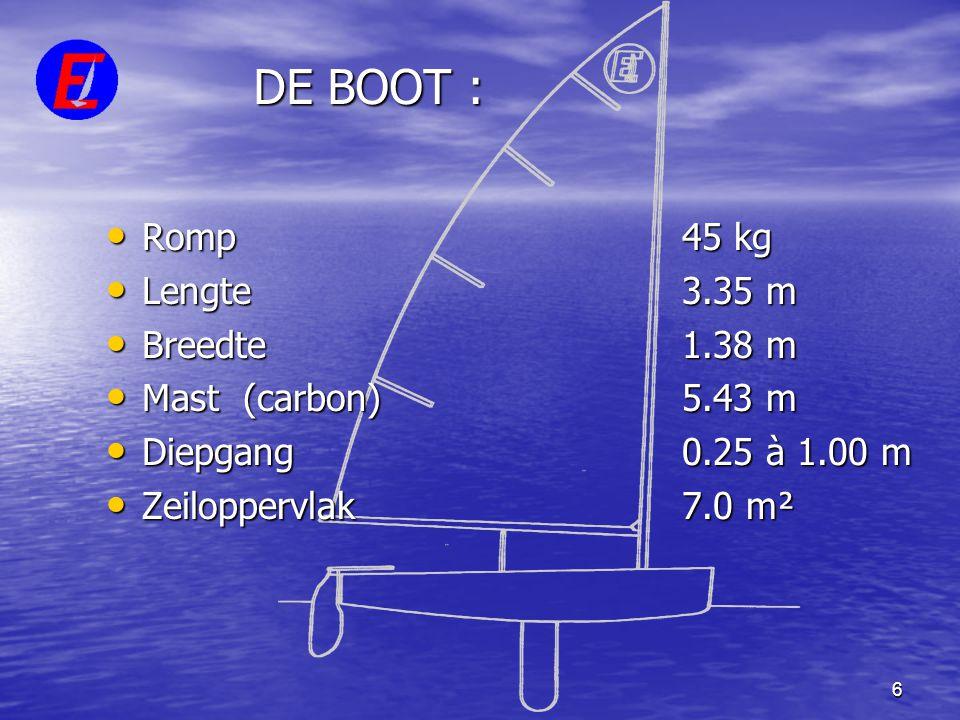 6 DE BOOT : • Romp 45 kg • Lengte 3.35 m • Breedte 1.38 m • Mast (carbon)5.43 m • Diepgang 0.25 à 1.00 m • Zeiloppervlak 7.0 m²