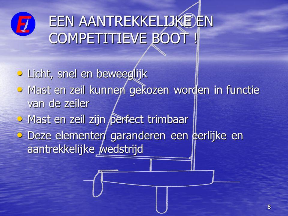 8 EEN AANTREKKELIJKE EN COMPETITIEVE BOOT ! • Licht, snel en beweeglijk • Mast en zeil kunnen gekozen worden in functie van de zeiler • Mast en zeil z