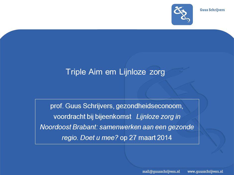 Triple Aim em Lijnloze zorg prof. Guus Schrijvers, gezondheidseconoom, voordracht bij bijeenkomst Lijnloze zorg in Noordoost Brabant: samenwerken aan