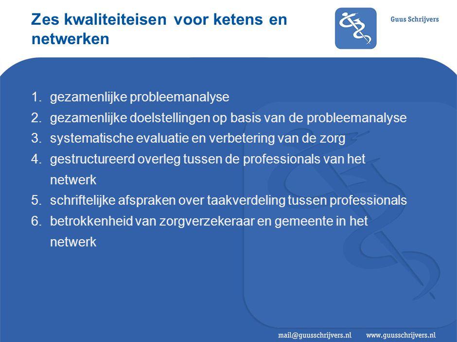 Zes kwaliteiteisen voor ketens en netwerken 1.gezamenlijke probleemanalyse 2.gezamenlijke doelstellingen op basis van de probleemanalyse 3.systematisc