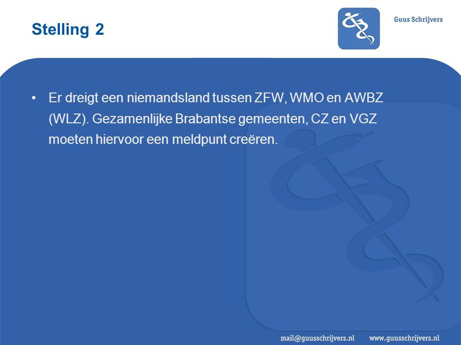 Stelling 2 •Er dreigt een niemandsland tussen ZFW, WMO en AWBZ (WLZ). Gezamenlijke Brabantse gemeenten, CZ en VGZ moeten hiervoor een meldpunt creëren