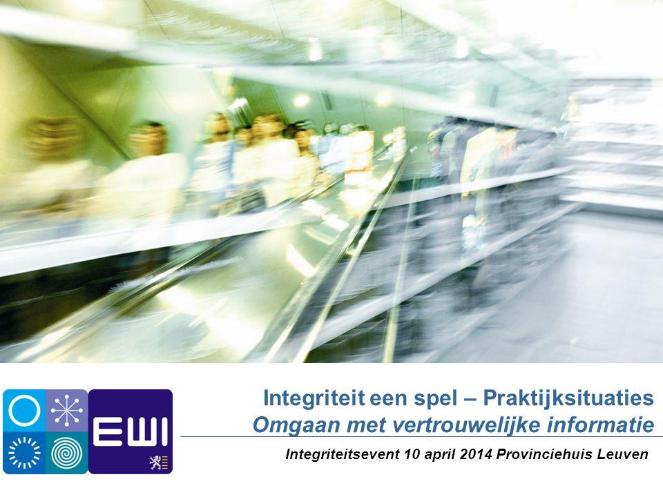 Integriteit een spel – Praktijksituaties Omgaan met vertrouwelijke informatie Integriteitsevent 10 april 2014 Provinciehuis Leuven