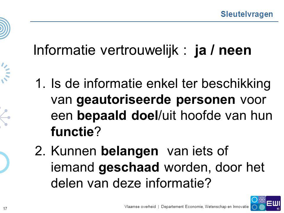 Vlaamse overheid | Departement Economie, Wetenschap en Innovatie Sleutelvragen Informatie vertrouwelijk : ja / neen 1.Is de informatie enkel ter beschikking van geautoriseerde personen voor een bepaald doel/uit hoofde van hun functie.