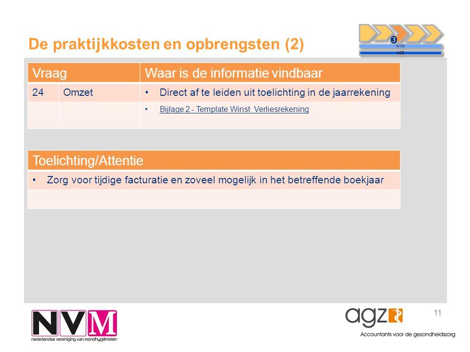 De praktijkkosten en opbrengsten (2) 11 NVM AGZ 3 VraagWaar is de informatie vindbaar 24Omzet•Direct af te leiden uit toelichting in de jaarrekening •