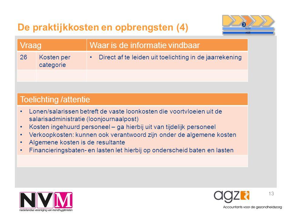 De praktijkkosten en opbrengsten (4) 13 NVM AGZ 3 VraagWaar is de informatie vindbaar 26Kosten per categorie •Direct af te leiden uit toelichting in d