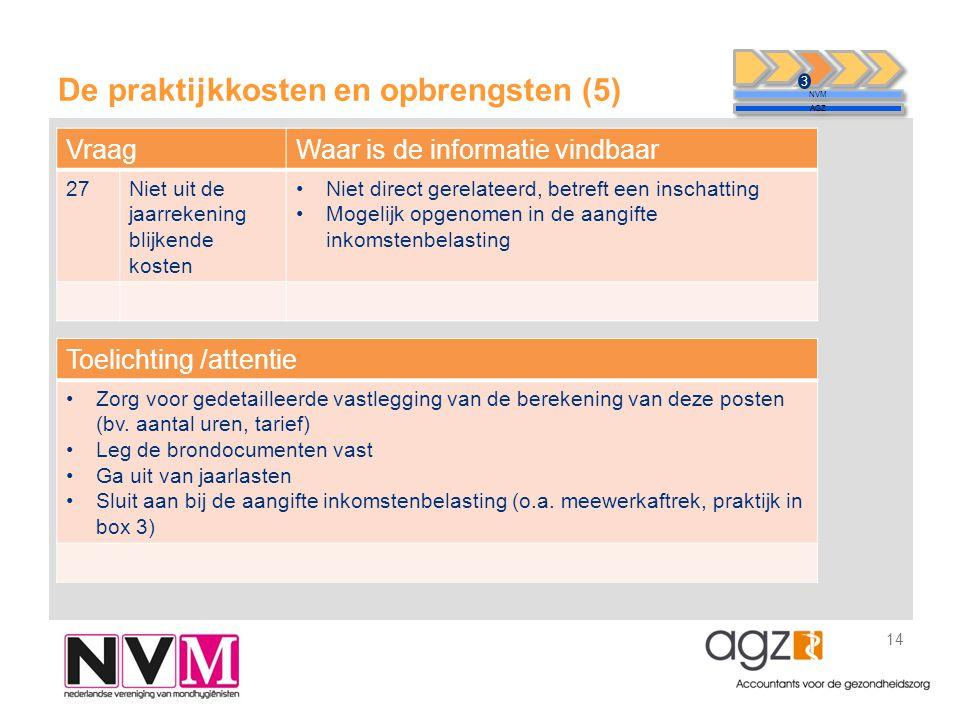 De praktijkkosten en opbrengsten (5) 14 NVM AGZ 3 VraagWaar is de informatie vindbaar 27Niet uit de jaarrekening blijkende kosten •Niet direct gerelat