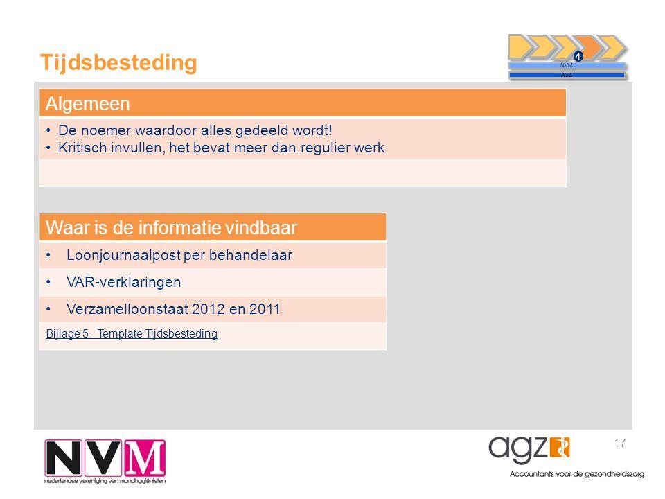 Tijdsbesteding 17 NVM AGZ 4 Waar is de informatie vindbaar •Loonjournaalpost per behandelaar •VAR-verklaringen •Verzamelloonstaat 2012 en 2011 Bijlage