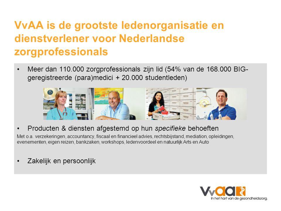 •Meer dan 110.000 zorgprofessionals zijn lid (54% van de 168.000 BIG- geregistreerde (para)medici + 20.000 studentleden) •Producten & diensten afgestemd op hun specifieke behoeften Met o.a.