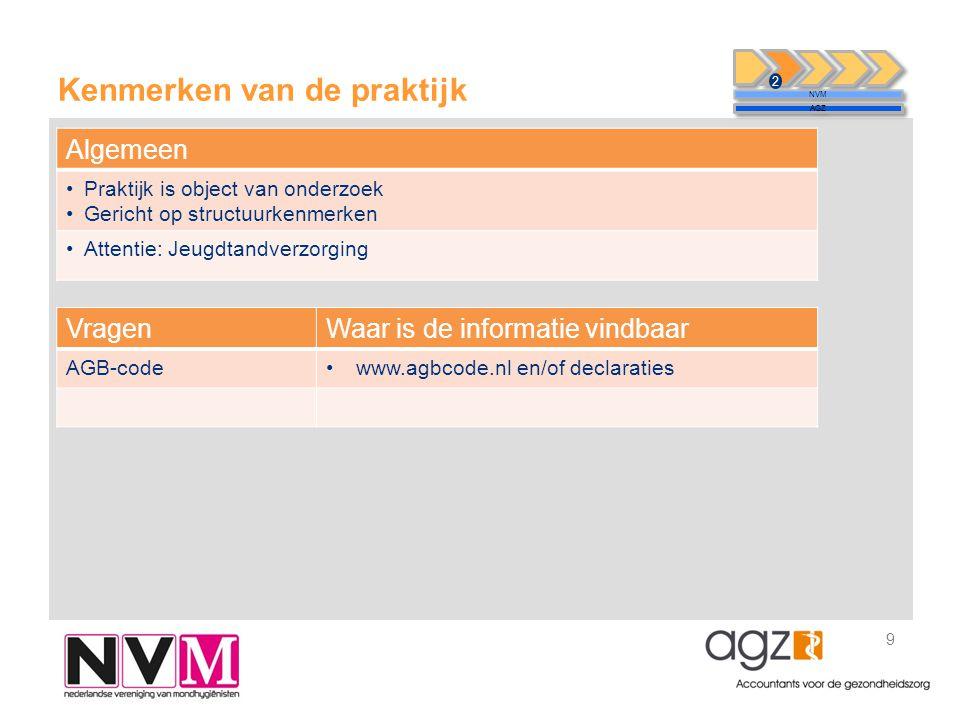 Kenmerken van de praktijk 9 NVM AGZ 2 VragenWaar is de informatie vindbaar AGB-code•www.agbcode.nl en/of declaraties Algemeen •Praktijk is object van onderzoek •Gericht op structuurkenmerken •Attentie: Jeugdtandverzorging