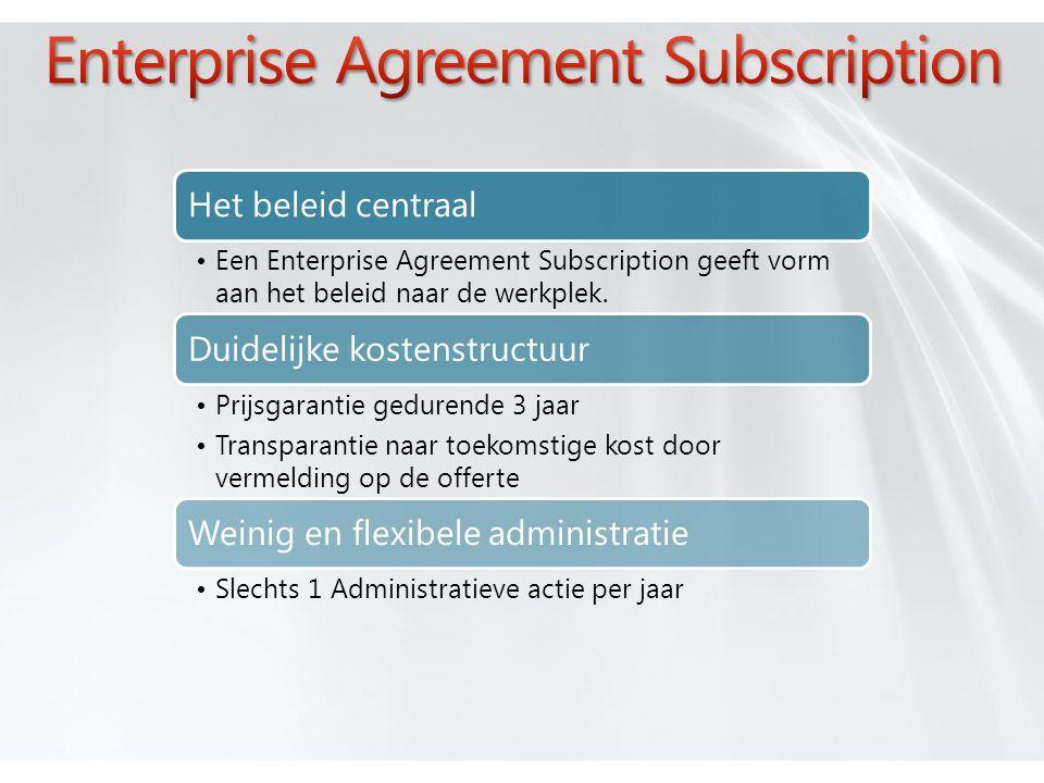 Het beleid centraal •Een Enterprise Agreement Subscription geeft vorm aan het beleid naar de werkplek.