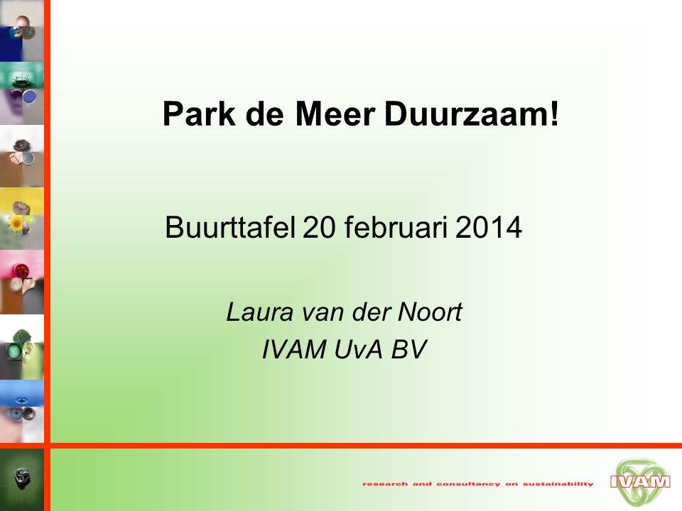 Park de Meer Duurzaam! Buurttafel 20 februari 2014 Laura van der Noort IVAM UvA BV